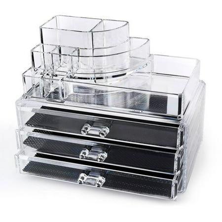 makeup organizer drawers walmart. acrylic makeup organizer cosmetic display 3 drawer jewerly case lipstick and brush holder by acrylicase drawers walmart u