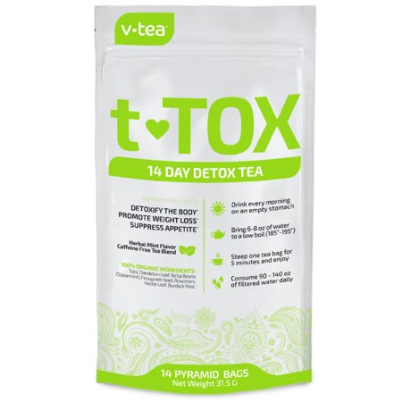 VTEA 14 Day Detox Tea Teatox: Cleanse, Boost Energy, Promote Weight Loss,  Reduce Constipation Bloating