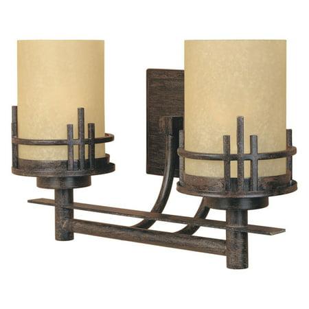 Mahogany 2 Light (Designers Fountain 82102 Mission Ridge 2 Light Bath Bar in Warm Mahogany Finish )