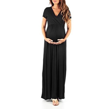 V neck Maternity Dress for Women Photography Prop Short Sleeve Long Maxi Summer Casual Loose Full-Length Pregnant