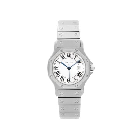 Cartier Santos octagon 29mm Steel White Roman Dial Automatic Ladies Watch 2965 Pre-Owned