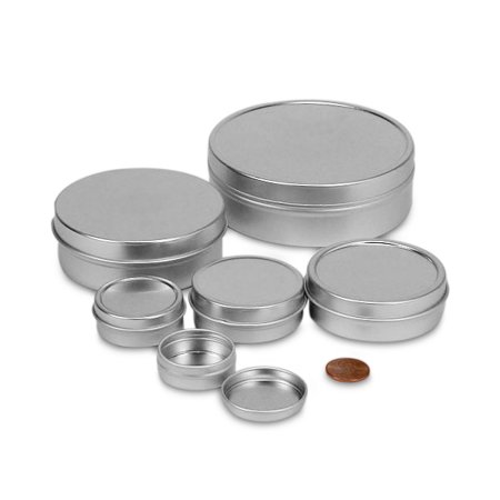 2oz. Shallow Screw Top Tin Can. Great for Storing Small Food Items, Condiments, Spices and More (6 Tins) - Halloween Food Items
