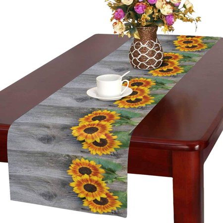 MKHERT Old Wood Boards with Sunflowers Vintage Concept Table Runner Home Decor for Wedding Banquet Decoration 16x72 Inch](Sunflower Decorations)