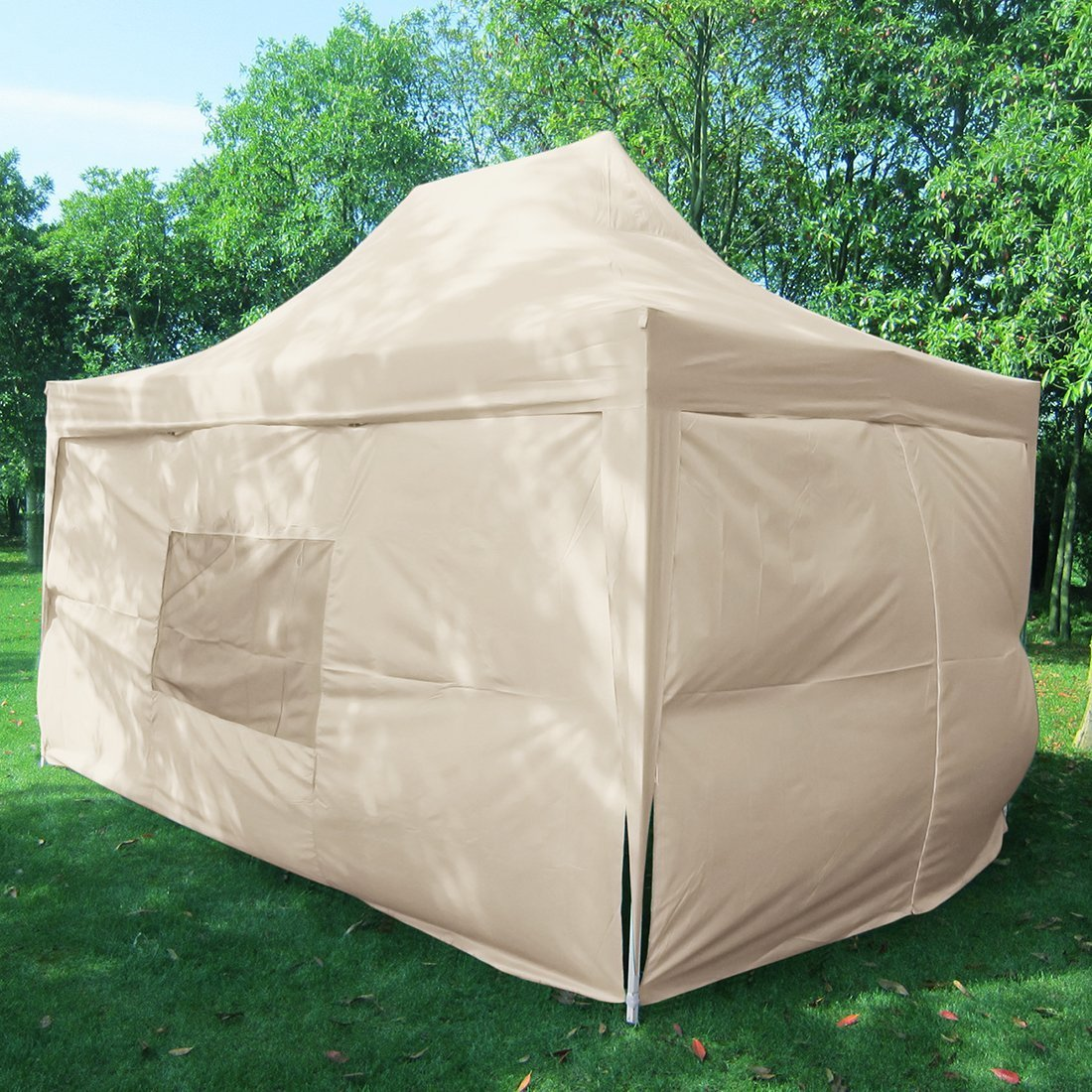 Quictent Privacy 10x15 EZ Pop Up Canopy Party Tent Gazebo 100% Waterproof with Sides and Mesh Windows Beige