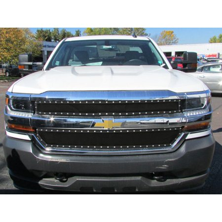 2016-2018 Chevy Silverado 1500 Not For Z71 and High Country Model Stainless Steel Black Main Upper Wire Mesh Rivet
