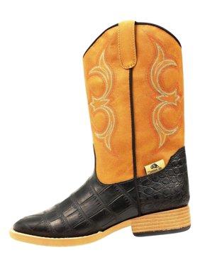 Double Barrel Boots Boys Bronc Gator 3.5 Child Black Tan 4475201