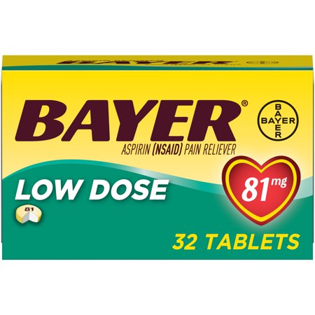 Aspirin Regimen Bayer Low Dose Pain Reliever Enteric Coated Tablets, 81mg, 32 Ct
