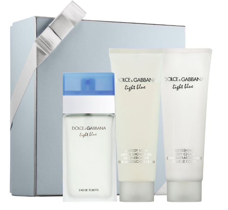 Light Blue by Dolce & Gabbana Perfume Gift Set for Women - 3 Pc: 3.3oz EDT Spray, 3.3oz Refreshing Body Cream, 3.3oz Energy Body Bath & Shower Gel