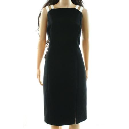 Lauren by Ralph Lauren NEW Black Womens Size 14 Contrast Sheath Dress