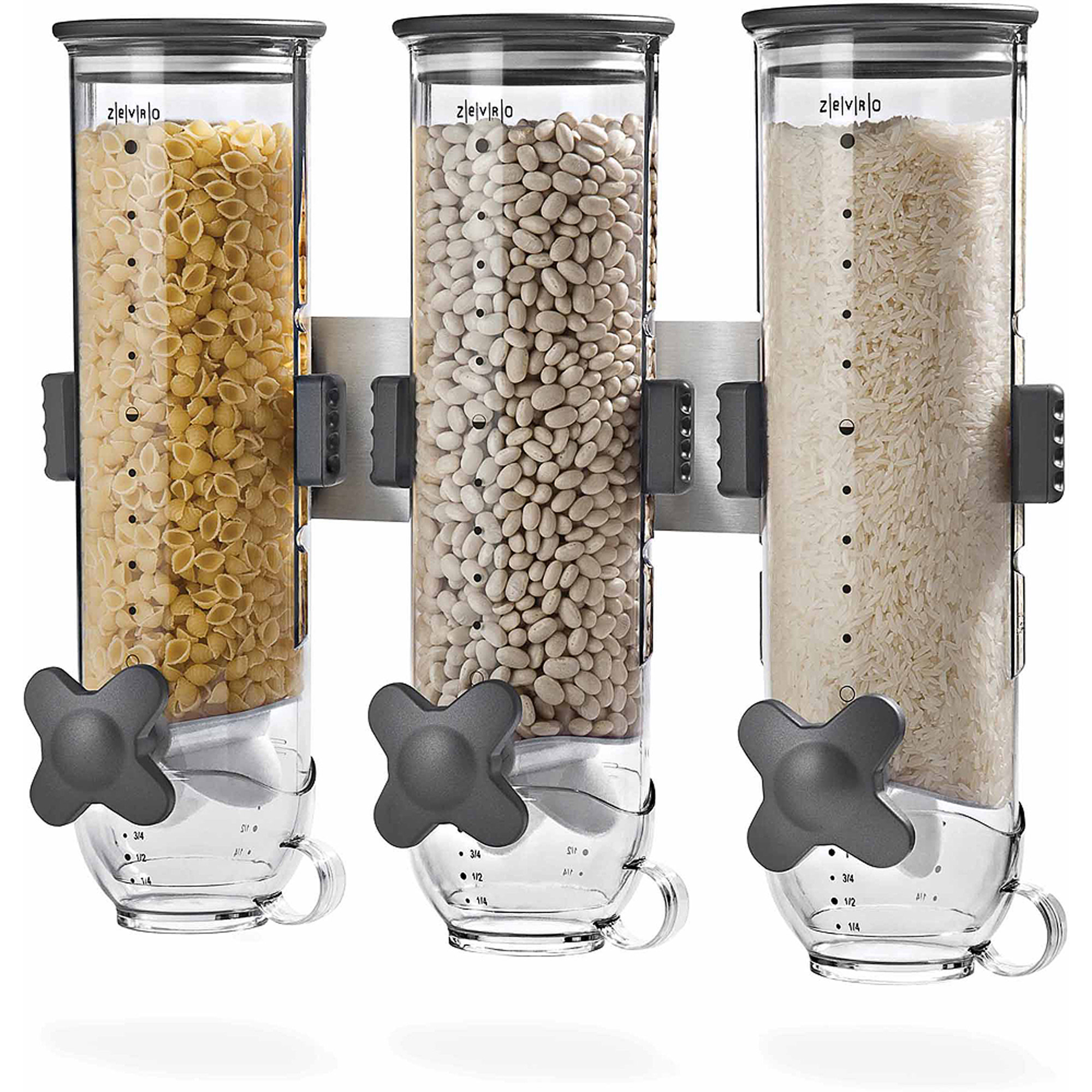 Zevro by Honey Can Do Wall Mount 13 oz. Triple Dry Food Dispenser