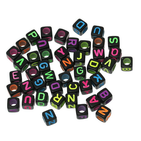 450 Mixed Bright on Black Acrylic Alphabet Letter