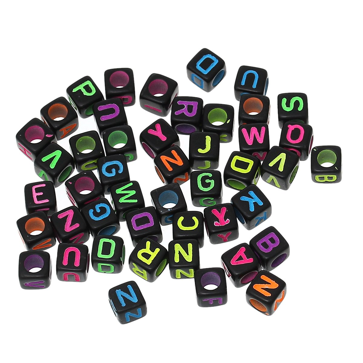 "450 Mixed Bright on Black Acrylic Alphabet Letter ""A-z"" Cube Spacer, Loose Beads, 6mm 1/4"""