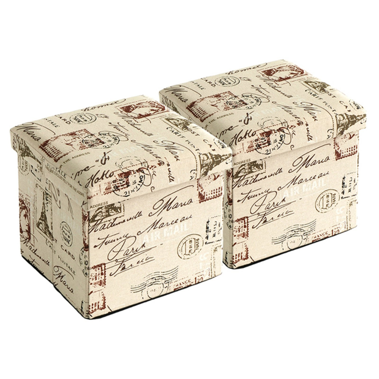 Creative Living Postal Print Folding Storage Ottoman