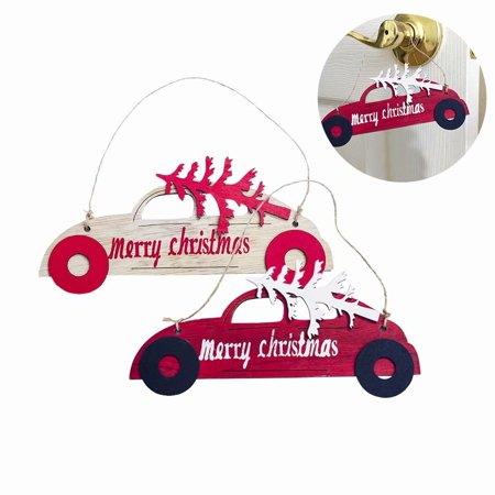 Christmas Wooden Decorative Hanging Card Christmas Tree Car Shape Decorative Pendant Christmas Decoration, - Car Christmas Decorations