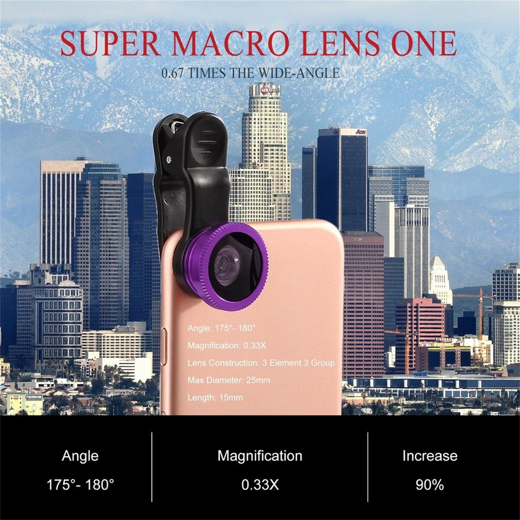 3 in 1 Universal Portable Clip Mobile Lens Wide Macro Angle Round Shaped Fisheye Lens Triple Camera Lens Kit For Smart Phone