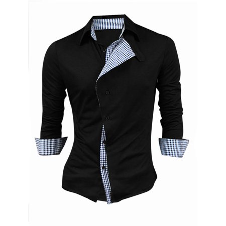 Men Button-Tab Point Collar Single Breasted Panel Casual Shirt