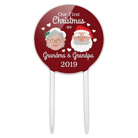Acrylic First Christmas as Grandma Grandpa 2019 Santa Mrs. Claus Cake Topper Party Decoration for Wedding Anniversary Birthday Graduation ()