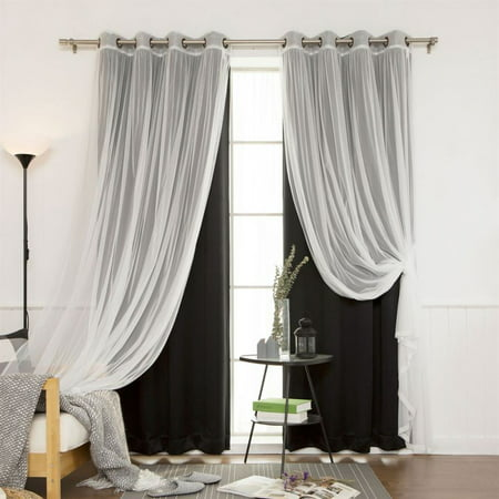Best Home Fashion 4-Piece Gathered Tulle Sheer and Blackout Antique Bronze Grommet Curtain Panel Set 52-in W 84-in