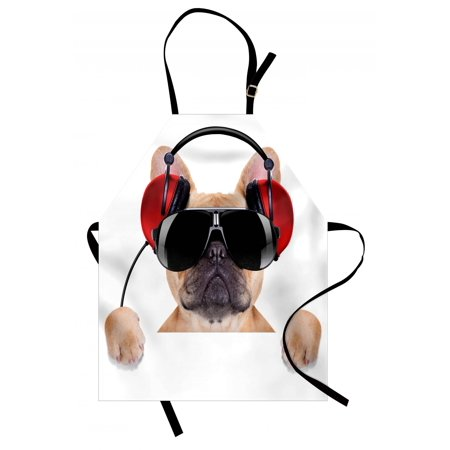 Popstar Party Apron Dj Bulldog with Headphones Listening to Music behind White Banner, Unisex Kitchen Bib Apron with Adjustable Neck for Cooking Baking Gardening, Pale Brown Black Red, by Ambesonne ()