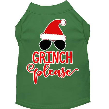 Grinch Please Screen Print Dog Shirt Green Med (12) - Pleaser Scream