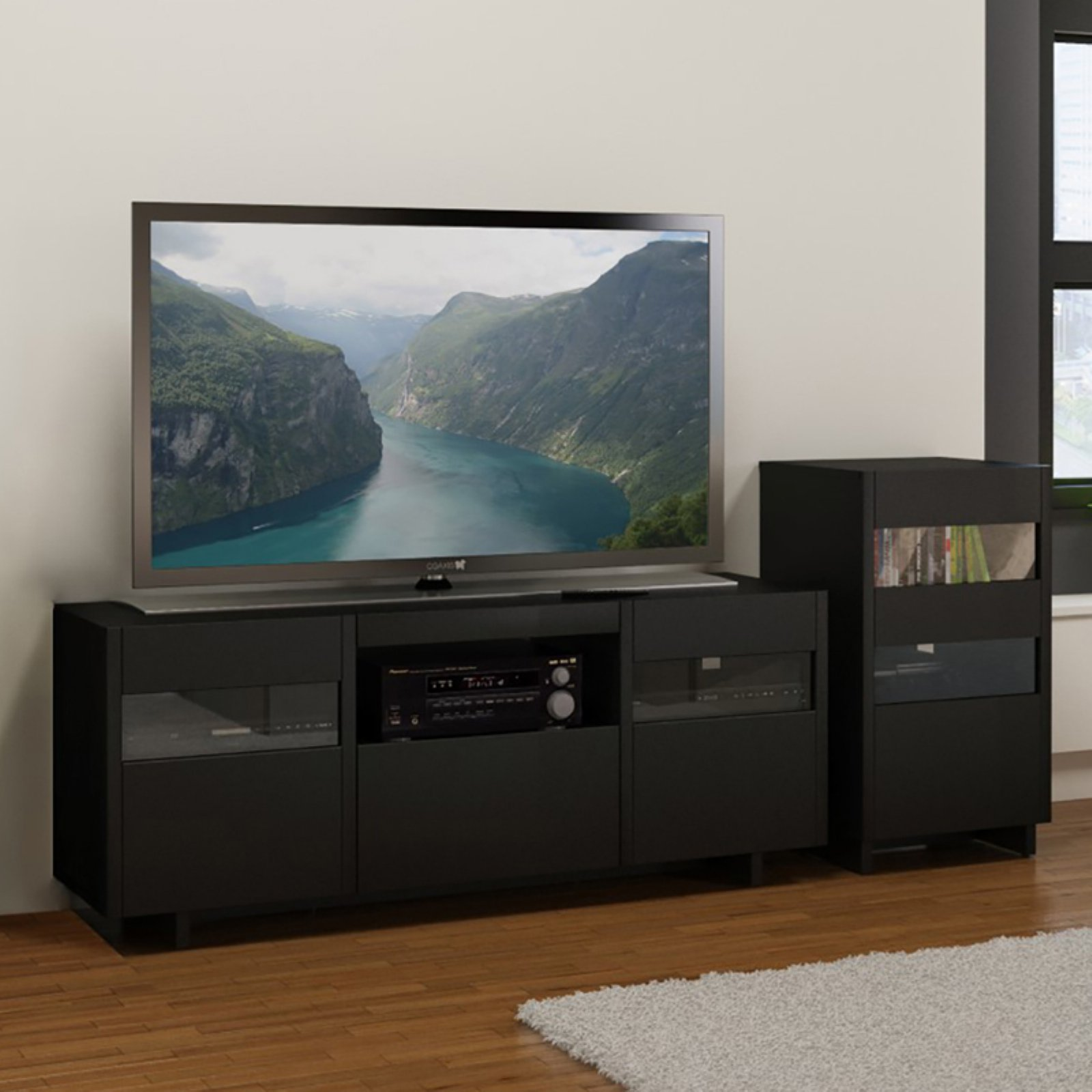 Nexera Vision Entertainment Center with Single Audio Tower - Black