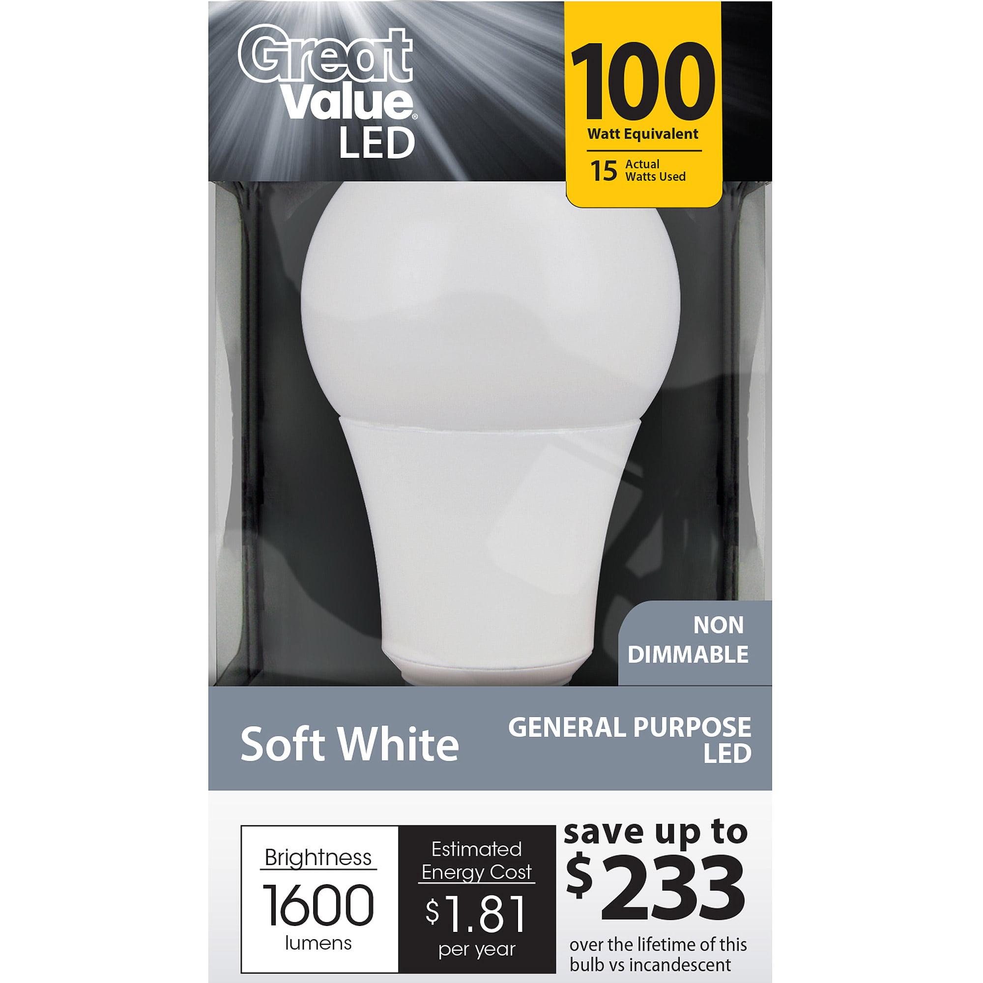 great value led light bulb 15w 100w equivalent a19 e26 soft white walmartcom