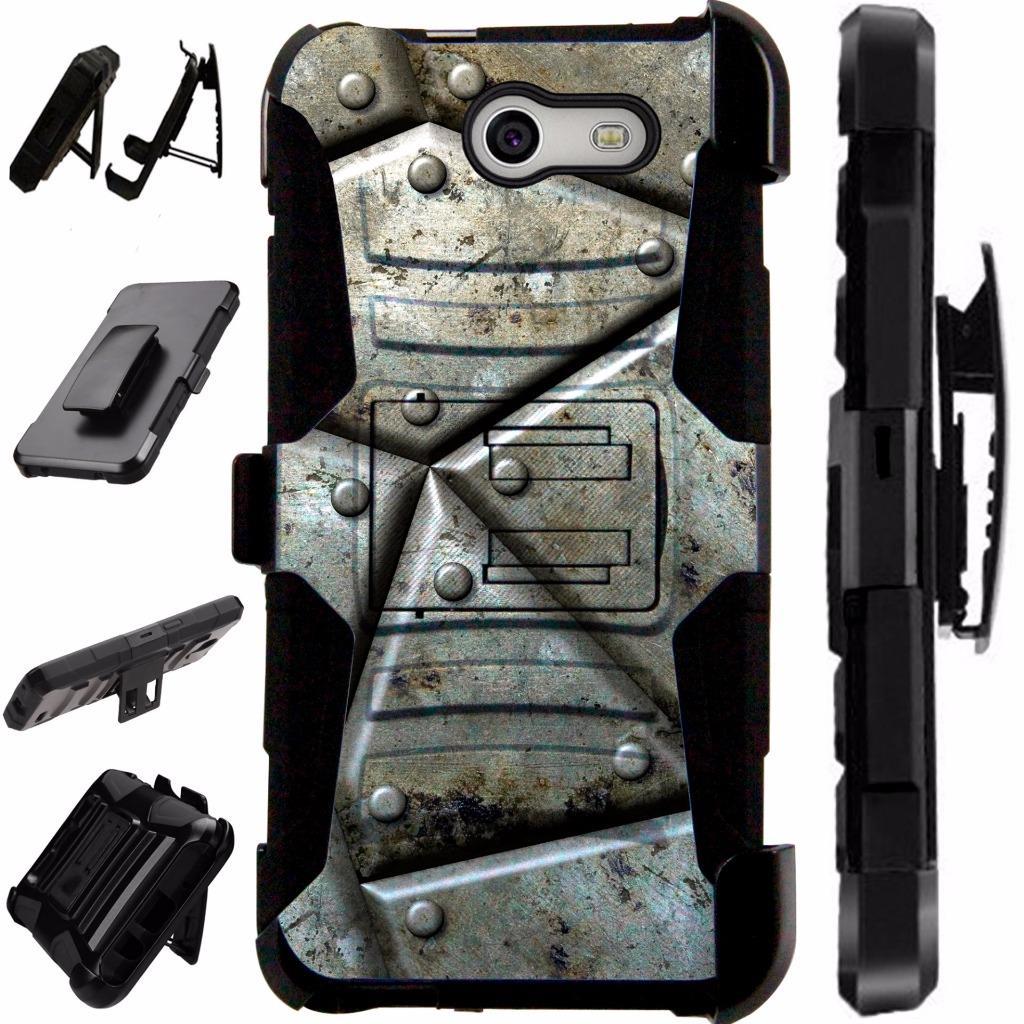 For Samsung Galaxy J7V / Galaxy Halo / J7 Prime / J7 Perx / J7 Sky Pro / J7 J727 Case Hybrid Armor Dual Layer Cover Stand Rugged LuxGuard Holster (Metal Shell)