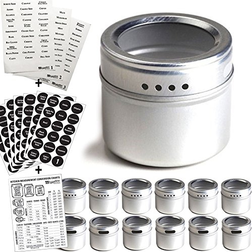 Kasachoy 6 Magnetic Spice Tins and 5 Spice Labels Magnetic Spice Jars with Window Top and Sift-Pour For Refrigerator Home and Kitchen Storage Spice Containers