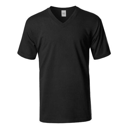 FashionOutfit Men's Basic Short Sleeve V-neck Cotton T-shirt S-5XL