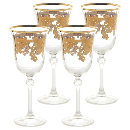 Lorren Home Trends Set of 4 Embellished 24K Gold Crystal Red Wine Goblets-Made In Italy