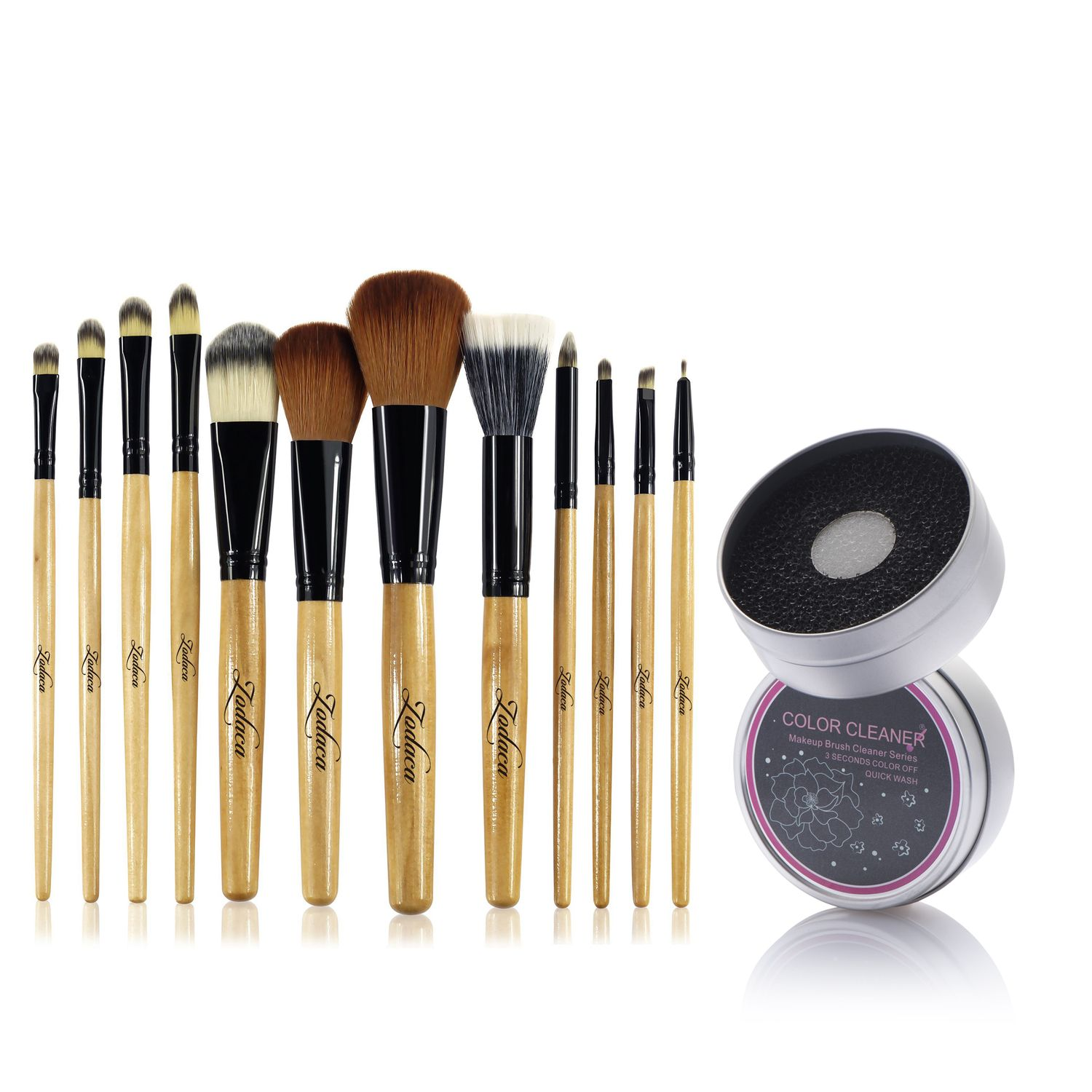 Zodaca 12 pcs Makeup Brushes Kit Set with Leopard Cosmetic Bag (12 count) Foundation Blending Eyeliner Highlighter Lip Highlighting Contouring Tools + Switch Duo Sponge Color Cleaner