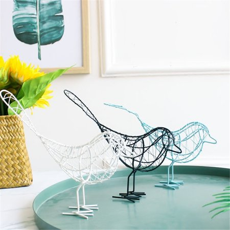 New Metal Artificial Iron Wire Bird Home Office Bedroom Desktop Ornament Art Craft (Brown Bird Craft)