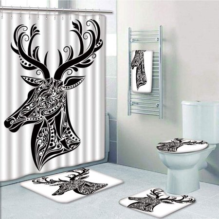 PRTAU Tattoo in The Shape of a Deer Creative Portrait 5 Piece Bathroom Set Shower Curtain Bath Towel Bath Rug Contour Mat and Toilet Lid Cover (Deer Toilet Tattoo)