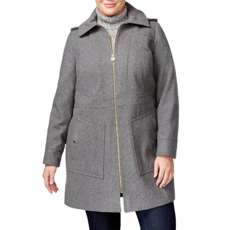 c77b2e0a9c7d5 Michael Kors - Michael Kors Women s Gray Plus Size Hooded Wool-Blend Walker  Coat