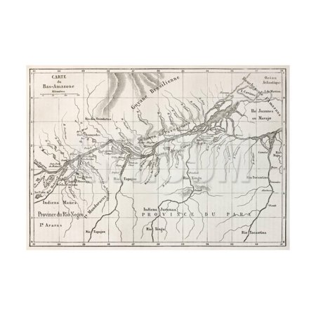 Lower Amazon Basin Old Map. Created By Erhard, Published On Le Tour Du Monde, Paris, 1867 Print Wall Art By marzolino