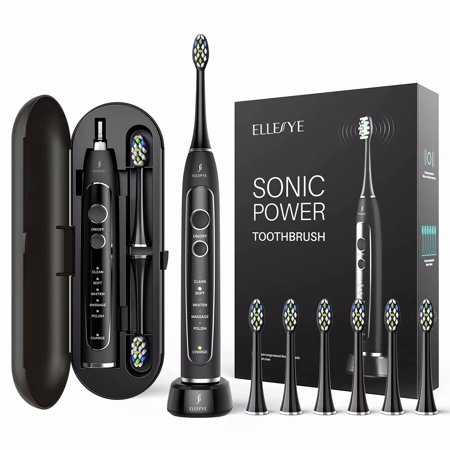 Electric Toothbrush, ELLESYE Rechargeable Toothbrush for Whiten Teeth with 40,000 VPM Motor 5 Modes 2 Smart Timers 15 Hours Charge with Charging Travel Case & 6 brush heads (Dentists recommend)