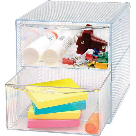 Sparco, SPR82978, 2-Drawer Storage Organizer, 1 Each, - Clear Storage