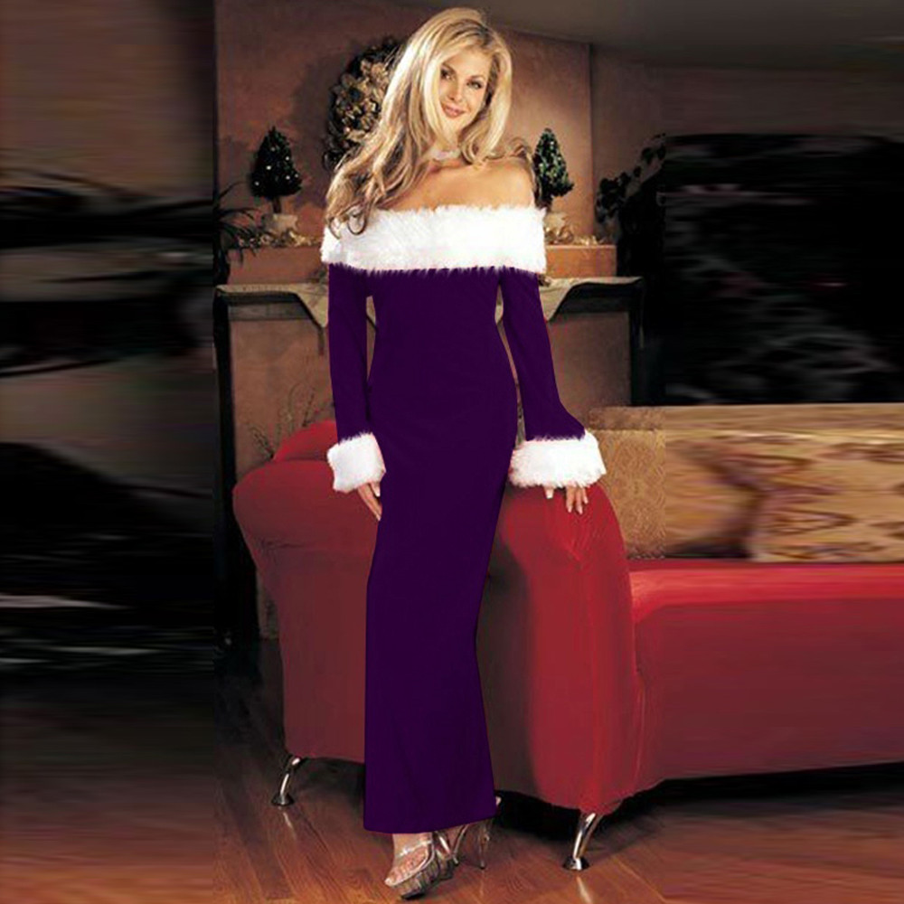 Mosunx Women Christmas Warm Off Shoulder Long Sleeve Party Dress