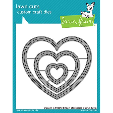 Die Cut Heart Shape - Lawn Cuts Custom Craft Die -Outside In Stitched Heart Stackables