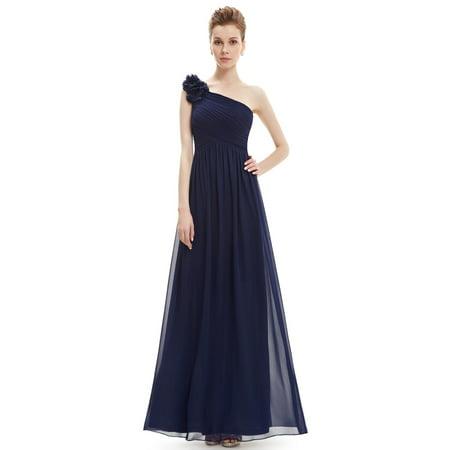 9f61353d80 Ever-pretty - Ever-Pretty Women's Elegant Long Maxi One-Shoulder Summer  Chiffon Beach Wedding Guest Bridesmaid Dresses for Women 08237 (Navy Blue 4  US) ...