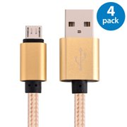 4x Afflux 6FT Micro USB Adaptive Fast Charging Cable Cord For Samsung Galaxy S3 S4 S6 S7 Edge Note 2 4 5 Grand Prime LG G3 G4 Stylo HTC M7 M8 M9 Desire 626 OnePlus 1 2 Nexus 5 6 Nokia Lumia Gold