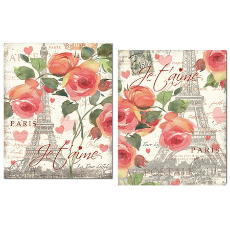 Gorgeous Pink Paris Eiffel Tower Rose and Heart Set; Floral Decor; Two 12x12in Paper Posters. Pink/Cream/Green