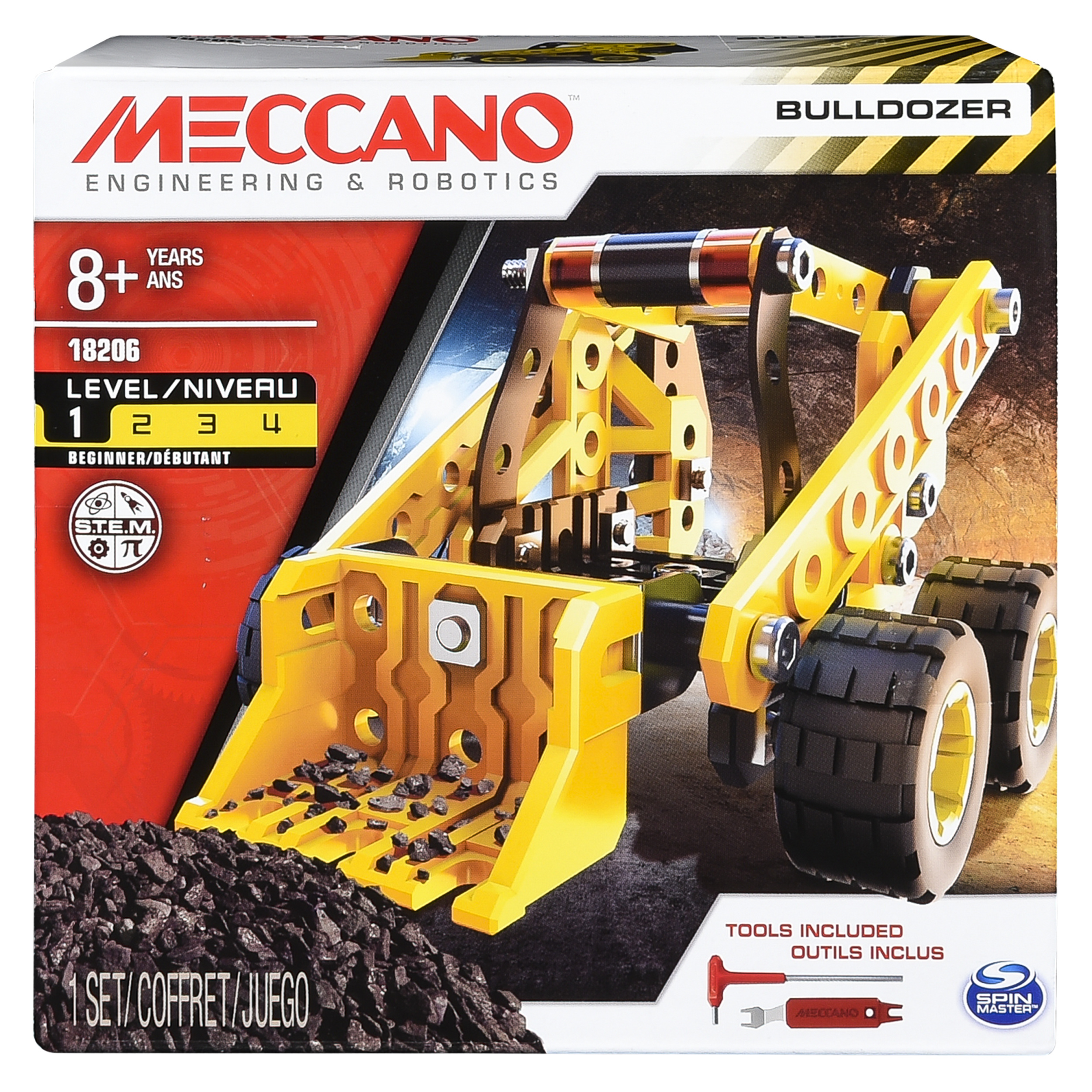 Meccano by Erector, Bulldozer Model Vehicle Building Kit, STEM Engineering Education Toy for Ages 8 and up