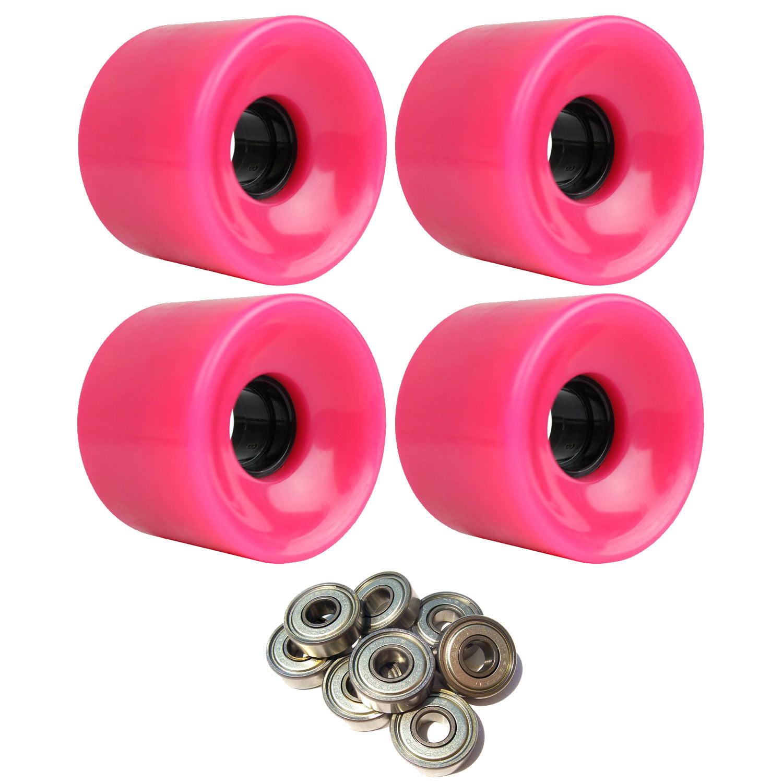LONGBOARD CRUISER WHEELS 65mm x 51.5mm 83A 806C Pink  ABEC 7 BEARINGS