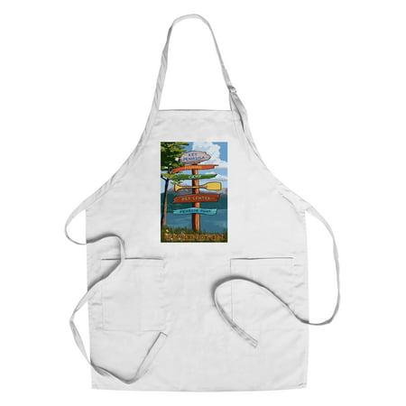 Key Peninsula, Washington - Destination Signpost - Lantern Press Artwork  (Cotton/Polyester Chef's Apron)