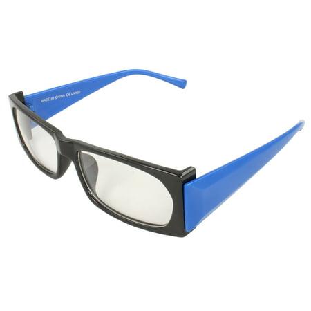 Blue Mens Lens (Rectangle Fashion Sunglasses Black Blue Frame Clear Lenses for Women and Men)