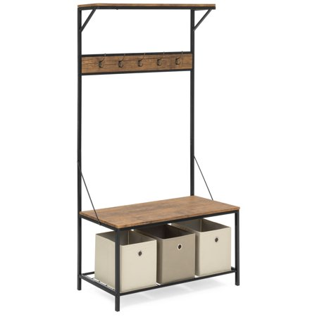 Best Choice Products 71x39in 3-Tier Entryway Coat Shoe Rack Bench Hall Tree Storage Organizer Accent Furniture w/ 5 Hooks, Metal Frame - Brown