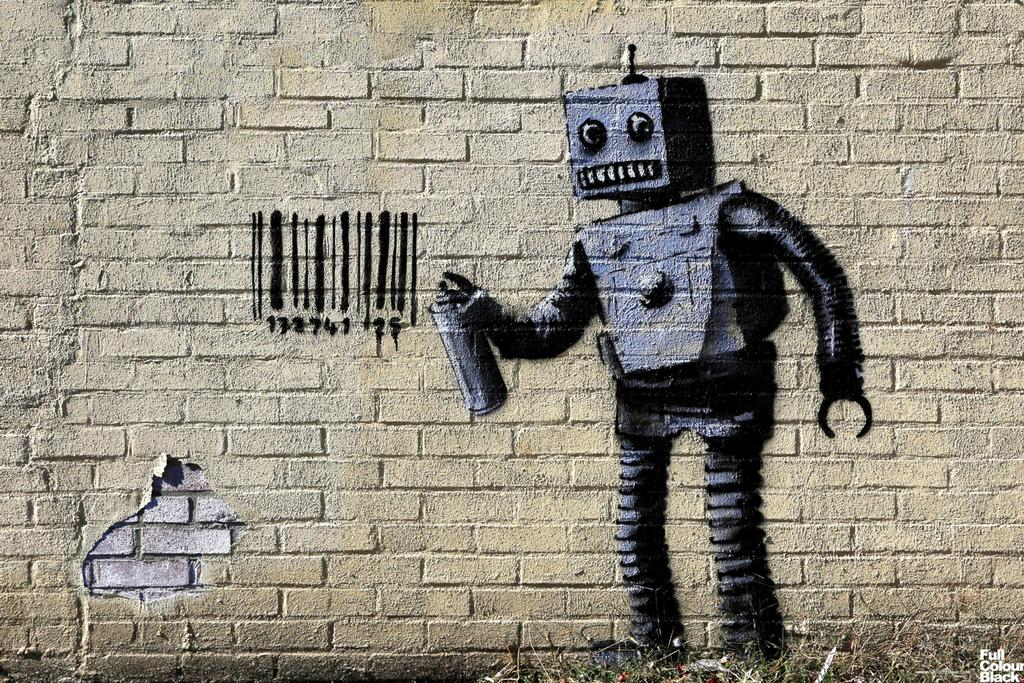 Banksy Barcode Robot Graffiti Stencil Street Art Urban Spray Paint Artist Poster 18x12 by