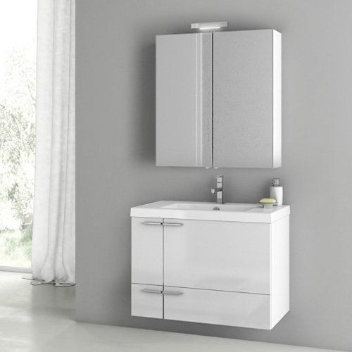 ACF by Nameeks ACF ANS13-GW New Space 31-in. Single Bathroom Vanity Set - Glossy White