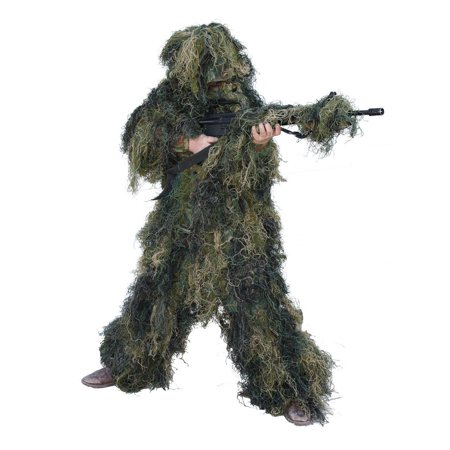 Red Rock 70915YM 5 Piece Lightweight Youth Woodland Ghillie Suit, Youth